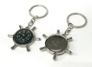Iránytűs hajókormány alakú fém kulcstartó hátoldalán egyedi gravírozott  felirattal 04501d2d50