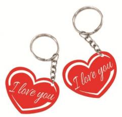 Szív alakú biléta egyedi szöveggel kulcstartó lánccal és karikával ellátva  2db-os gravírozott műanyag kivitelben többféle színben e1c3c37045