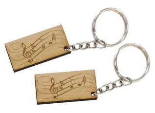 Hangjegyes biléta egyedi kulcstartó lánccal és karikával ellátva 2db-os  gravírozott bükkfa kivitelben a38a9561bc