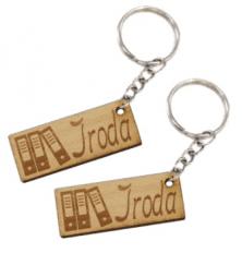 Iroda munkahelyi biléta egyedi szöveggel kulcstartó lánccal és karikával  ellátva 2db-os gravírozott bükkfa kivitelben ea9c36881d