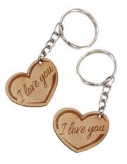 Szív alakú biléta egyedi szöveggel kulcstartó lánccal és karikával ellátva  2db-os gravírozott bükkfa kivitelben 280bdd1839