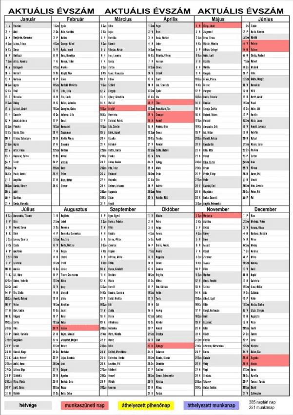 naptár névnapok Éves A/3  as Falinaptár névnapokkal írható felületekkel  naptár névnapok